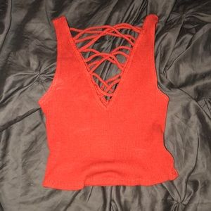 lace up criss cross crop top